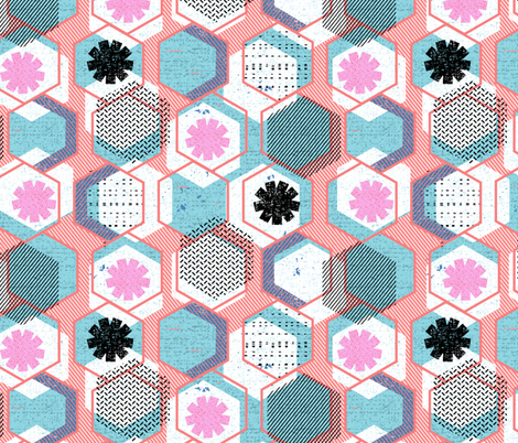 African Memphis hexagons fabric by ottomanbrim on Spoonflower - custom fabric
