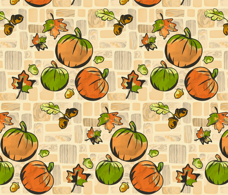 Pumpkin Patch Pathway fabric by yourfriendamy on Spoonflower - custom fabric