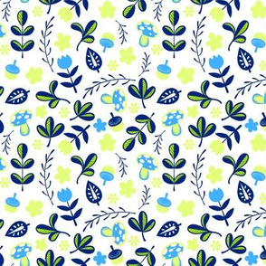 Swedish Small Floral and Leaves Blue