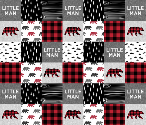 Little Man patchwork quilt top || plaid with bears fabric by littlearrowdesign on Spoonflower - custom fabric