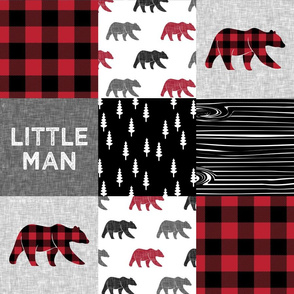 Little Man patchwork quilt top || plaid with bears