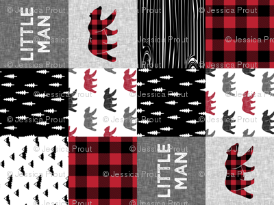 Little Man patchwork quilt top (90) || plaid with bears