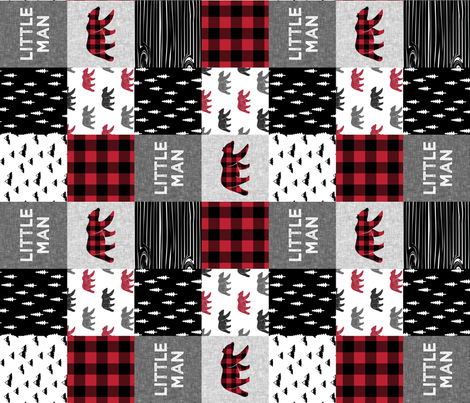 Little Man patchwork quilt top (90) || plaid with bears fabric by littlearrowdesign on Spoonflower - custom fabric