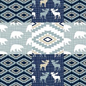patchwork  boho moose and bear