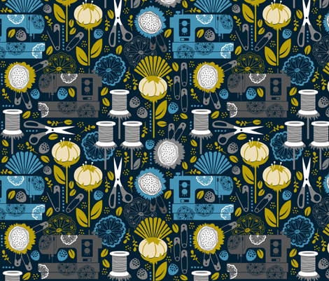 Garden of Sewing Supplies - Navy fabric by run_quiltgirl_run on Spoonflower - custom fabric