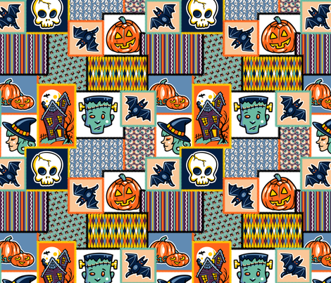Halloween Hoopla - Patchwork - Large fabric by shannanigan on Spoonflower - custom fabric