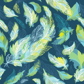 Greenery Romantic  Feathers