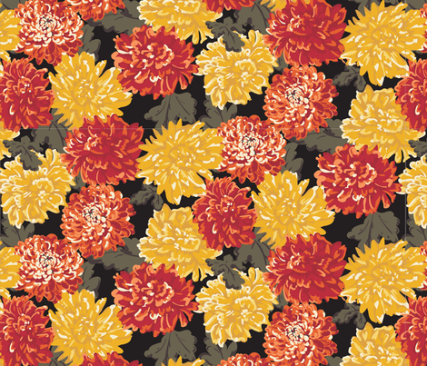 Chrysanthemum_Garden-01-ch fabric by little_black_poodle on Spoonflower - custom fabric