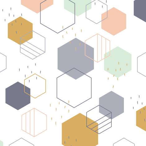 New Geometric Hexagons Small fabric by runningriverdesign on Spoonflower - custom fabric