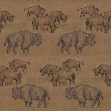Bison Buffalo Herd fabric by eclectic_house on Spoonflower - custom fabric