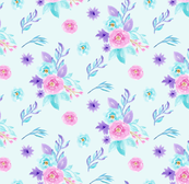 Pink Blue Purple Pastel Watercolour Floral