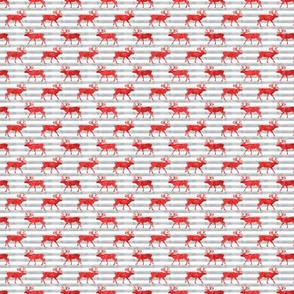 (micro scale) reindeer - red on grey stripes
