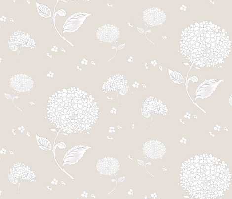 Floating Hydrangea Flowers on Beige fabric by yellowelephant on Spoonflower - custom fabric