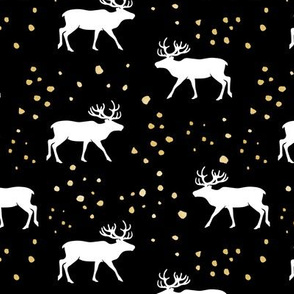reindeer - holiday  (black and gold)