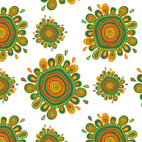 Ethnic style pattern with abstract flowers