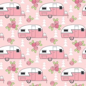 medium pink trailers with rosebuds on pink