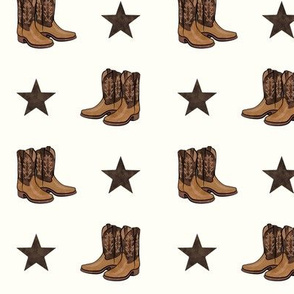 cowboy boots - brown on cream
