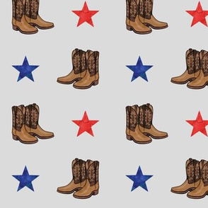 cowboy boots - red and blue stars on grey