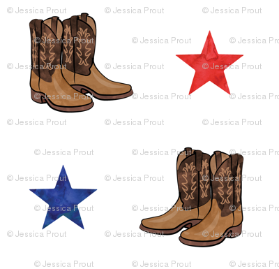 cowboy boots - red and blue stars