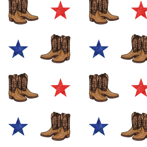 cowboy boots - red and blue stars fabric by littlearrowdesign on Spoonflower - custom fabric
