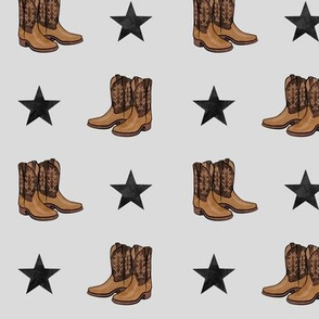 cowboy boots and stars  - black on grey