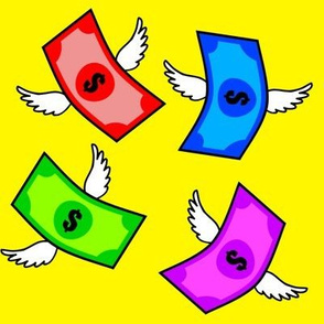 rainbow colorful multi colors flying money dollar signs notes banknotes pop art wings currency