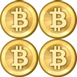 3 bitcoin coins money cryptocurrency digital currency gold pop art novelty