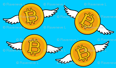 5 bitcoin coins money cryptocurrency digital currency gold pop art novelty flying wings