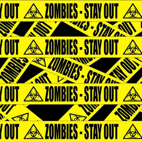 2 zombies stay out barricade construction notice warning danger hazard barrier police firefighter tape biohazard pop art caution novelty life sized jokes gags Halloween
