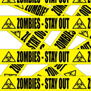 1 zombies stay out barricade construction notice warning danger hazard barrier police firefighter tape biohazard pop art caution novelty life sized jokes gags Halloween