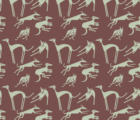 whippet-greyhound-dk fabric by wren_leyland on Spoonflower - custom fabric