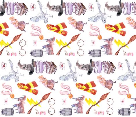 Wizard Symbols // White // Medium Scale // Railroaded fabric by hipkiddesigns on Spoonflower - custom fabric