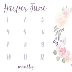 Girl Milestone Baby Blanket in Florals