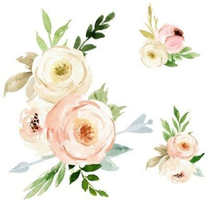 """8"""" Boho Blush and Ivory Florals"""