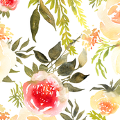 Watercolour yellow and red roses