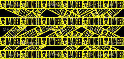 1 danger skulls skeletons stay out barricade construction notice warning hazard barrier police firefighter tape pop art caution novelty life sized jokes gags