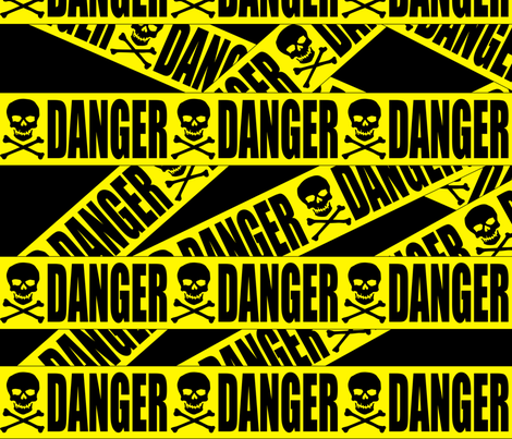 1 danger skulls skeletons stay out barricade construction notice warning hazard barrier police firefighter tape pop art caution novelty life sized jokes gags fabric by raveneve on Spoonflower - custom fabric