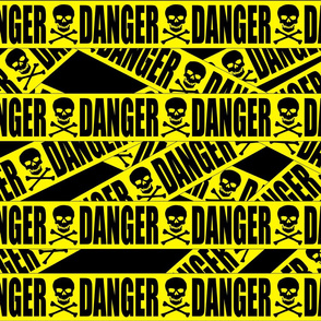 1 danger skulls skeletons stay out barricade construction notice warning hazard barrier police firefighter tape pop art caution novelty life sized jokes gags