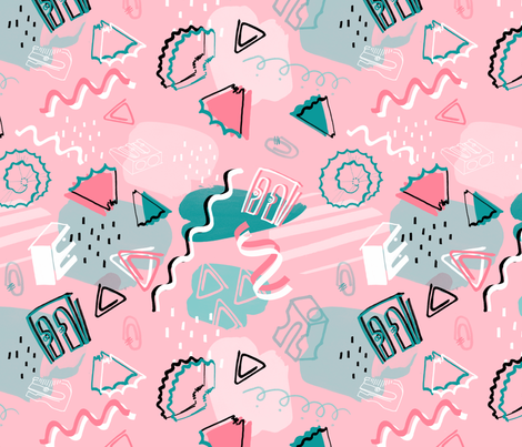 Memphis_Stationary fabric by samanthajanedesigns on Spoonflower - custom fabric