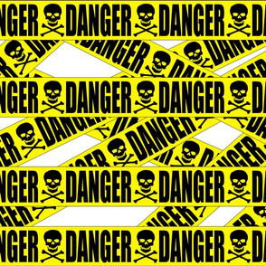 2 danger skulls skeletons stay out barricade construction notice warning hazard barrier police firefighter tape pop art caution novelty life sized
