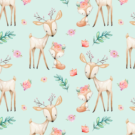 Sweet Deer & Fox (soft mint) - Woodland Animals Flowers Baby Girl Nursery Bedding fabric by gingerlous on Spoonflower - custom fabric