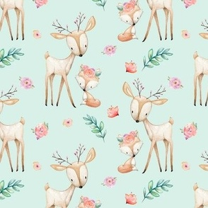 Sweet Deer & Fox (soft mint) - Woodland Animals Flowers Baby Girl Nursery Bedding