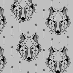Geometric Wolf + Arrows (gray) Geo Wolves Woodland Animals Baby Boy Nursery Bedding A