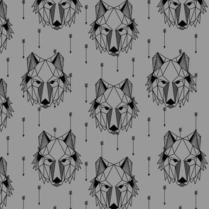 Geometric Wolf + Arrows (greystone) Geo Wolves Woodland Animals Baby Boy Nursery Bedding B