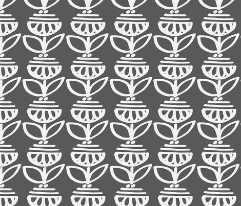 Big Retro Flower- Grey fabric by leticia_plate on Spoonflower - custom fabric