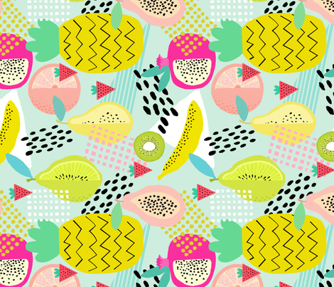 TEA TOWEL Memphis Style Fruit fabric by nadinewestcott on Spoonflower - custom fabric