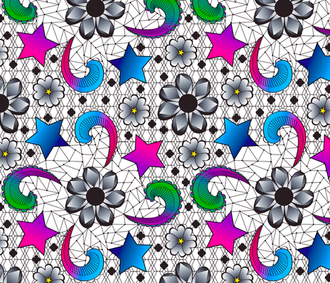 Lacy Memphis Style fabric by everhigh on Spoonflower - custom fabric