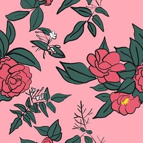 Camellia & Jasmine on Pink