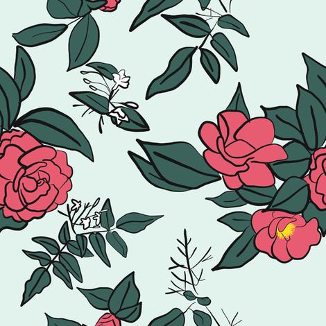 Camellia & Jasmine on White fabric by driessa on Spoonflower - custom fabric