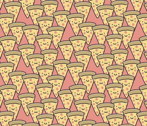 Pizza Buddies - Coral fabric by heatherhightdesign on Spoonflower - custom fabric